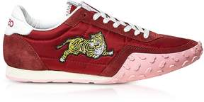 Kenzo Medium Red Nylon and Suede Move Women's Sneakers