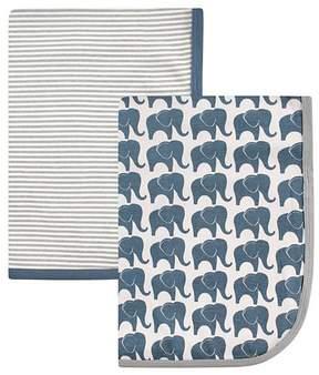 Hudson Baby 30'' x 30'' Blue Elephant & Gray Stripe Receiving Blanket Set