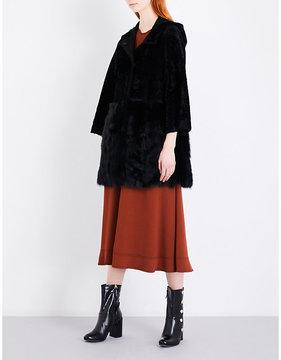 Drome Ladies Black Small Practical Hooded Shearling Coat