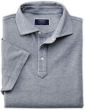Charles Tyrwhitt White and Navy Birdseye Cotton Polo Size XL