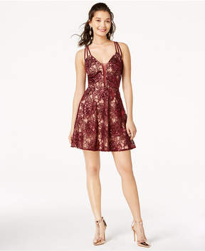 B. Darlin Juniors' Strappy-Back Lace Dress