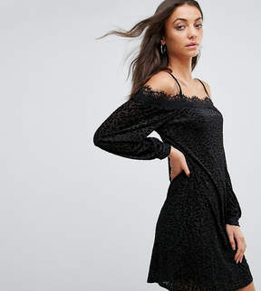 Fashion Union Tall Cold Shoulder Cami Dress In Leopard Burnout Velvet