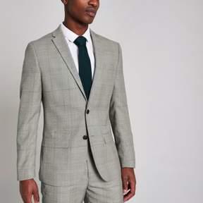 River Island Mens Grey check slim fit suit jacket