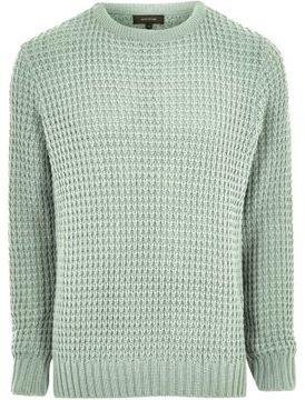 River Island Mens Mint green textured waffle knit sweater