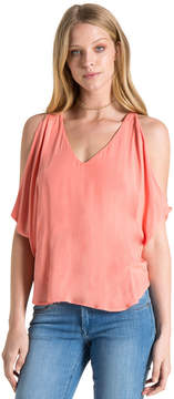 Bella Dahl Cold Shoulder Tee-Tart Orange-XS
