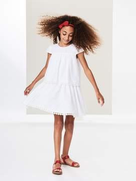 Oscar de la Renta Tiered Flower Eyelet Cotton Dress