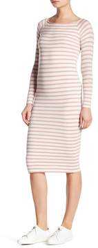 ATM Anthony Thomas Melillo Striped Ribbed Boatneck Midi Dress