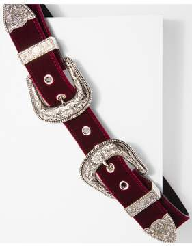 7 For All Mankind | B-Low The Belt Bri Bri Velvet Belt In Burgandy And Silver | L