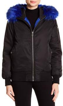 Blanc Noir BNCI by Colored Faux Fur Trim Zip Bomber Jacket