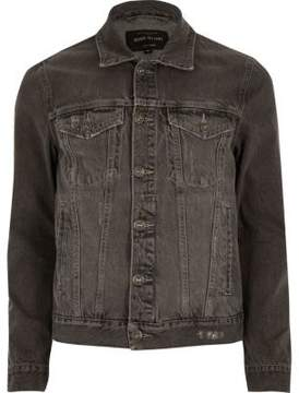 River Island Mens Grey acid wash denim jacket