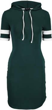 Hunter Green & White Stripe Hoodie Dress - Women