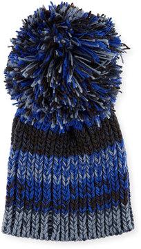 BCBGMAXAZRIA Fringe Pompom Knit Party Beanie