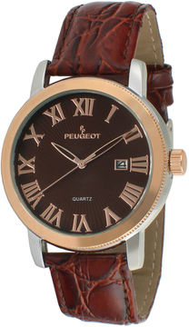 Peugeot Mens Brown Leather Strap Watch 2040RBR
