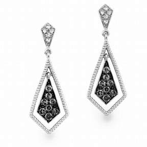 Armani Exchange Jewelry Diamond Drop Earrings in Sterling Silver (0.33 carats, H-I I2 and Grey Diamonds)