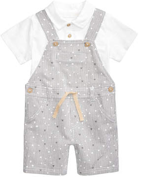 First Impressions 2-Pc. Polo Shirt & Striped Overall Set, Baby Boys, Created for Macy's