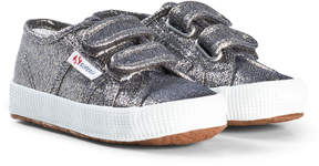 Superga Grey Lame Velcro Trainers
