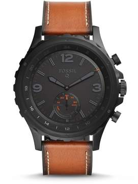 Fossil Q Nate Leather-Strap Hybrid Smart Watch