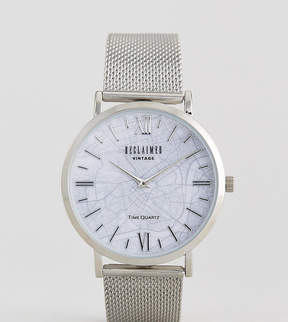 Reclaimed Vintage Inspired London Map Mesh Watch In Silver Exclusive To ASOS