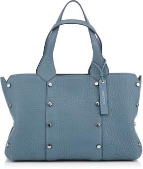 Jimmy Choo LOCKETT SHOPPER/S Dusk Blue Grainy Leather Tote Bag