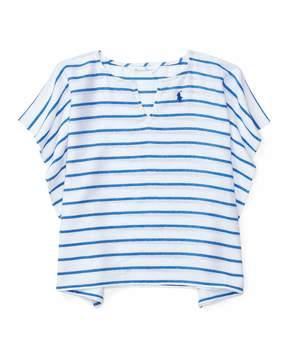 Ralph Lauren Striped Cotton Swim Coverup, Blue, Size 9-24 Months