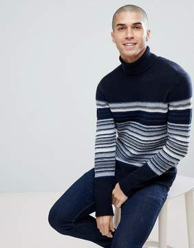 Benetton Wool Mix Roll Neck Sweater With Multi Stripe