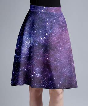 Lily Purple & Blue Galaxy A-Line Skirt - Women & Plus