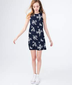 Aeropostale Floral Tie-Back Embroidered Shift Dress