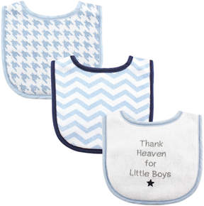 Luvable Friends Blue & White 'Thank Heaven' Chevron Three-Piece Bib Set