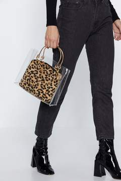 Nasty Gal WANT Clear Goals Leopard Bag
