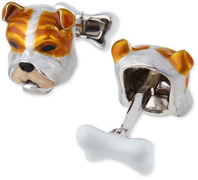 Jan Leslie Sterling Silver and Enamel Dog Face Cuff Links
