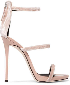 Giuseppe Zanotti Harmony Velvet And Patent-leather Sandals - Blush