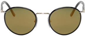 Persol Black and Gold Round Sunglasses