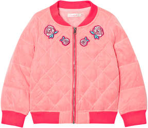 Billieblush Hot Pink Embroidred Rose Quilted Bomber Jacket