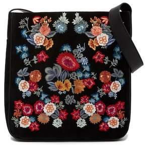 Lucky Brand Super Bloom Floral Embroidered Suede Shoulder Bag