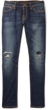 Nudie Jeans Skinny Lin Distressed Organic Stretch-Denim Jeans
