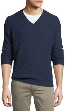 Neiman Marcus Cashmere Basketweave-Knit Sweater