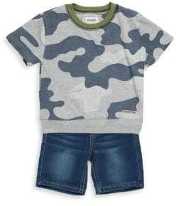 Hudson Little Boy's Two-Piece Camouflage Top and Shorts Set