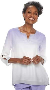 Alfred Dunner Women's Studio Embellished Slit-Sleeve Ombre Top