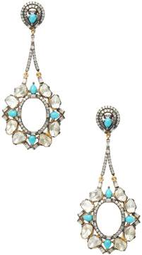 Artisan Women's 18K Gold Dangling Rose-cut Diamond & Turquoise Earrings