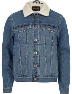 River Island Mens Blue wash fleece lined denim jacket