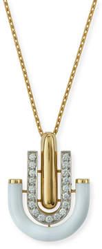 David Webb White Enamel & Diamond U-Drop Pendant Necklace