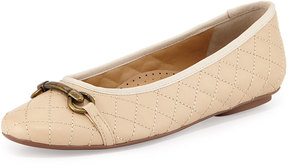 Neiman Marcus Suzy Quilted Napa Flat, Pudding