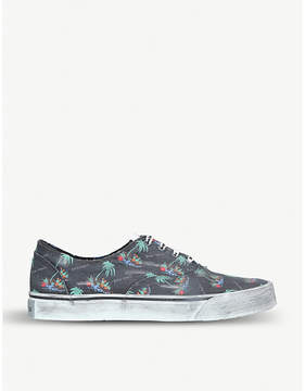 Palm Angels Distressed palm-print canvas trainers