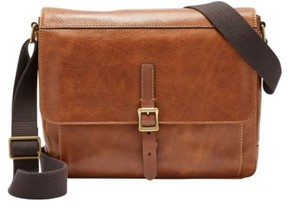 Fossil Men's Defender Leather Messenger Bag - Brown