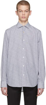 Paul Smith White and Navy Small Bird Dress Shirt