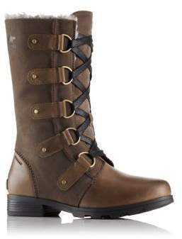 Sorel Emelie Faux Fur-Trimmed Leather and Suede Lace-Up Boots
