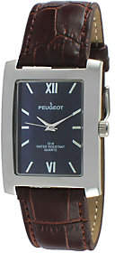 Peugeot Men's Blue Dial Leather Watch