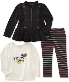 Tommy Hilfiger 3-Pc. Peplum Jacket, T-Shirt & Leggings Set, Little Girls (4-6X)