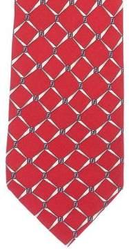 Fendi Geometric Logo Print Silk Tie