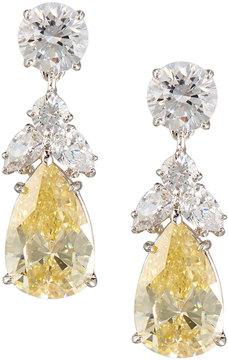 FANTASIA Pear Canary Crystal Drop Earrings